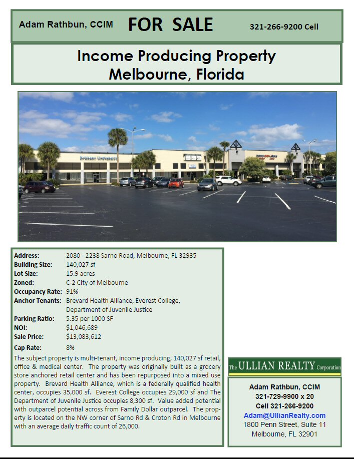 140,000 sf Office/Retail/Medical Center | Melbourne Florida 32935