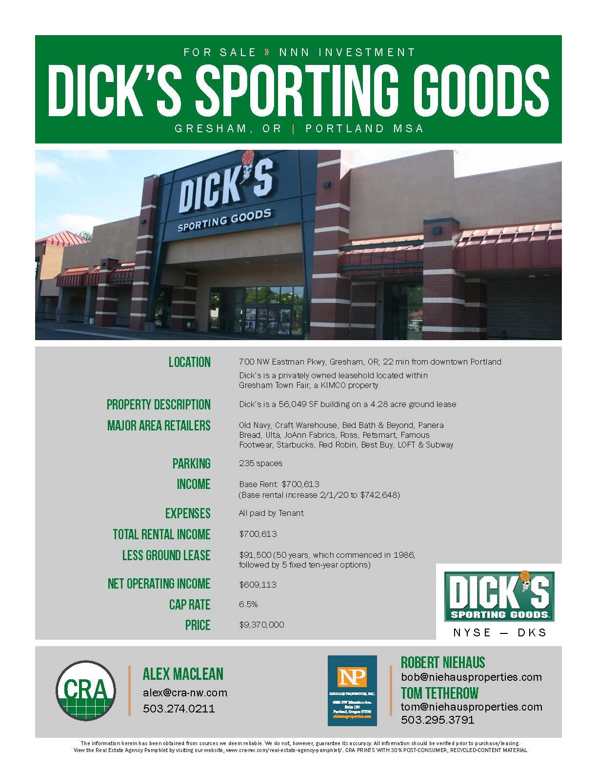 Dick's SPorting Goods; a 56,049 SF building | Gresham Oregon 97031
